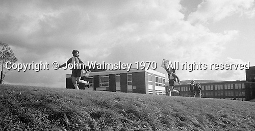Flying a kite, Whitworth Comprehensive School, Whitworth, Lancashire.  1970.