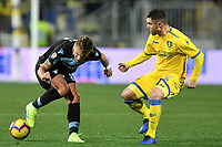 Ciro Immobile of Lazio and Federico Viviani of Frosinone during the Serie A 2018/2019 football match between Frosinone and Lazio at stadio Benito Stirpe, Frosinone, February 4, 2019 <br />  Foto Andrea Staccioli / Insidefoto