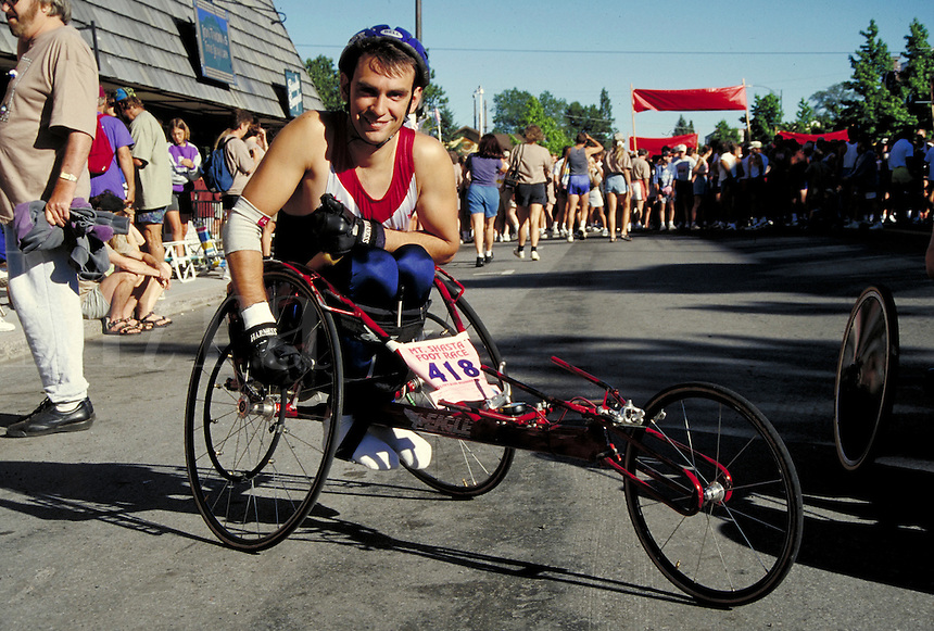 Man in adapted wheelchair posing at race event, Mount Shasta, CA. Handicapped. Disabled. Mount Shasta California.