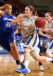 BROOKINGS, SD - MARCH 23:  Tara Heiser #12 from South Dakota State drives past Alexis Akin-Otiko #45 from Creighton in the first half of their WNIT game Sunday afternoon at Frost Arena in Brookings. (Photo by Dave Eggen/Inertia)