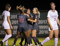 Stanford, CA - October 3, 2019: Madison Haley, Sophia Smith, Catarina Macario, Abby Greubel at Laird Q Cagan Stadium. The Stanford Cardinal beat the Washington State Cougars 5-0.