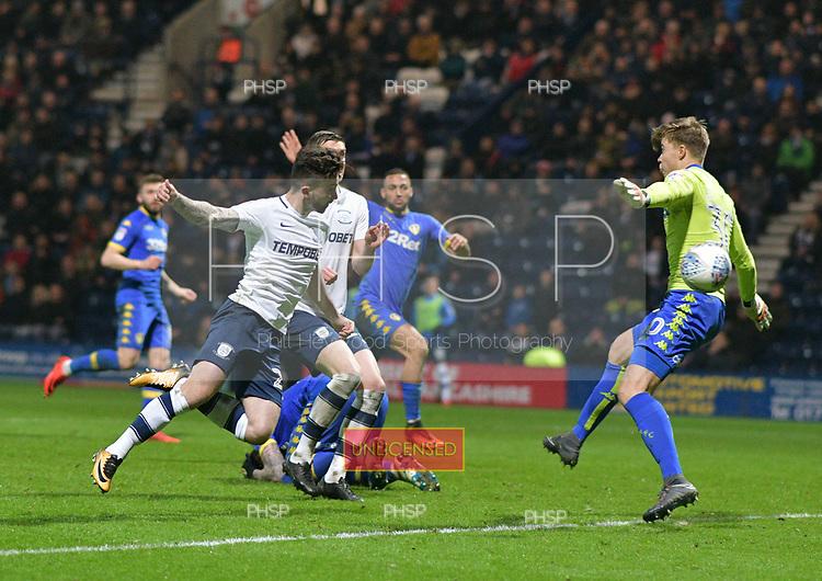 10/04/2018 Sky Bet League Championship Preston North End v Leeds United<br /> <br /> Sean Maguire heads Preston North End's second goal