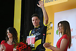 Breakaway man Sylvain Chavanel (FRA) Direct Energie wins the day's combativity award on the podium at the end of Stage 2 of the 2018 Tour de France running 182.5km from Mouilleron-Saint-Germain to La Roche-sur-Yon, France. 8th July 2018. <br /> Picture: ASO/Pauline Ballet | Cyclefile<br /> All photos usage must carry mandatory copyright credit (&copy; Cyclefile | ASO/Pauline Ballet)