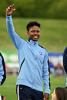 Piscataway, NJ, May 7, 2016.  Maya Hayes  (5) of the Sky Blue FC during player introductions prior to their game with Western New York Flash.  The Western New York Flash defeated Sky Blue FC, 2-1, in a National Women's Soccer League (NWSL) match at Yurcak Field.