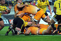 Jaguares' Agustin Creevy scores during the Super Rugby match between the Hurricanes and Jaguares at Westpac Stadium in Wellington, New Zealand on Friday, 17 May 2019. Photo: Dave Lintott / lintottphoto.co.nz