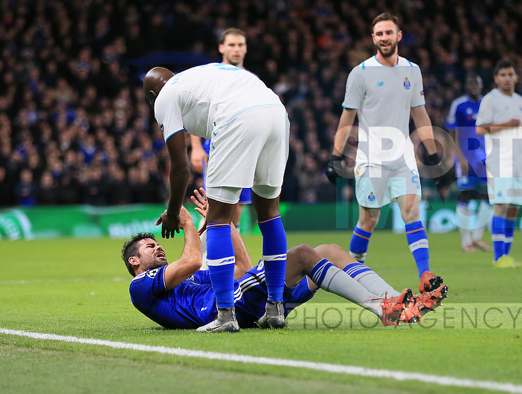 Chelsea's Diego Costa clashes with Porto's Bruno Martins Indi<br /> <br /> UEFA Champions League - Chelsea v FC Porto - Stamford Bridge - England - 9th December 2015 - Picture David Klein/Sportimage