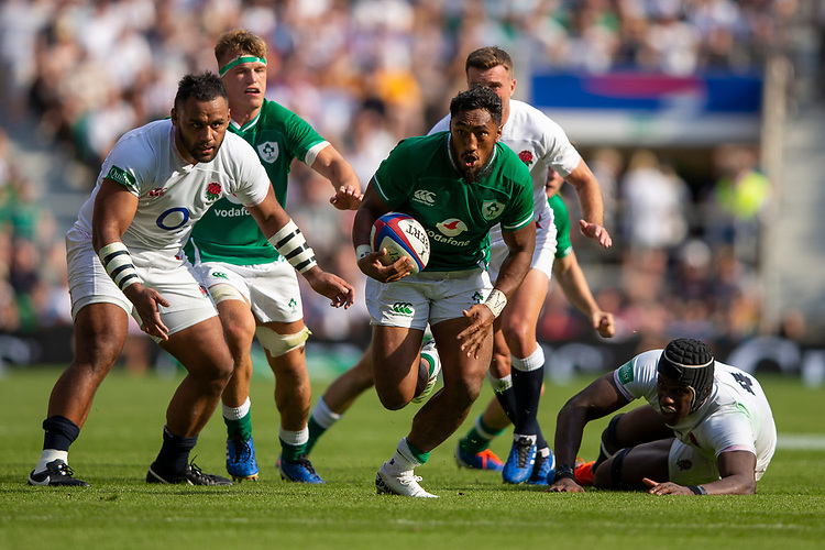 Ireland's Bundee Aki in action during todays match<br /> <br /> Photographer Bob Bradford/CameraSport<br /> <br /> Quilter Internationals - England v Ireland - Saturday August 24th 2019 - Twickenham Stadium - London<br /> <br /> World Copyright © 2019 CameraSport. All rights reserved. 43 Linden Ave. Countesthorpe. Leicester. England. LE8 5PG - Tel: +44 (0) 116 277 4147 - admin@camerasport.com - www.camerasport.com