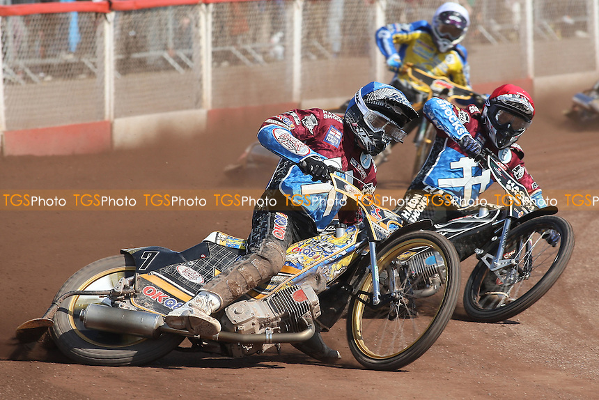 Heat 4: Kim Nilsson (blue) and Lee Richardson on the way to a 5-1 for Lakeside - Lakeside Hammers vs Eastbourne Eagles - Sky Sports Elite League Speedway at Arena Essex Raceway, Purfleet - 06/04/12 - MANDATORY CREDIT: Gavin Ellis/TGSPHOTO - Self billing applies where appropriate - 0845 094 6026 - contact@tgsphoto.co.uk - NO UNPAID USE.