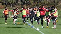 Pictured: Leon Britton (L) back on training Wednesday 05 November 2014<br /> Re: Swansea City FC players training at Fairwood training ground, ahead of their Premier League game against Arsenal on Sunday.