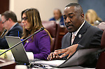 Nevada Assemblyman Tyrone Thompson, D-North Las Vegas, works in committee at the Legislative Building in Carson City, Nev., on Thursday, April 2, 2015. <br /> Photo by Cathleen Allison