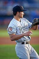 Staten Island Yankees Chris Godinez (2) during warmups before a game against the Batavia Muckdogs on August 27, 2016 at Dwyer Stadium in Batavia, New York.  Staten Island defeated Batavia 13-10 in eleven innings.  (Mike Janes/Four Seam Images)
