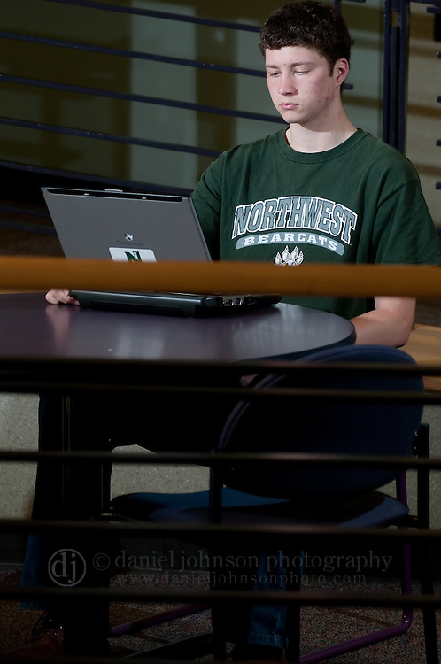 11 May 2009 -- Northwest Missouri State University Electronic Textbooks -- Northwest Missouri State University business management major Kevin Green, 20, looks at a university laptop, similar to the one he used last semester, in a lounge area of Colden Hall. NMSU in Maryville, Mo. has started to a pilot program to use electronic textbooks or etextbooks instead of paper printed books in classes on campus. PHOTO/Daniel Johnson (Copyright 2009 Daniel Johnson)