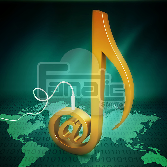 Conceptual illustration of global music downloading and sharing