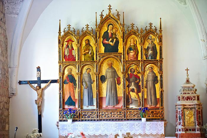 Church of the Santa Eufemia monastery in Kampor. Late Baroque style polyptych by Venetian artist  Antonio and Bartolomeo Vivarini 1458. Rab Island, Croatia