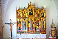 Church of the Santa Eufemia monastery in Kampor. Late Baroque style polyptych by Venetian artist  Antonio and Bartolomeo Vivarini 1458. Rab Island, Croatia