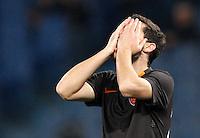 Calcio, Tim Cup: Roma vs Empoli. Ottavi di finale a gara unica. Roma, stadio Olimpico, 20 gennaio 2015.<br /> Roma's Mattia Destro reacts after missing a scoring chance during the Italian Cup round of 16 football match between Roma and Empoli at Rome's Olympic stadium, 20 January 2015.<br /> UPDATE IMAGES PRESS/Riccardo De Luca