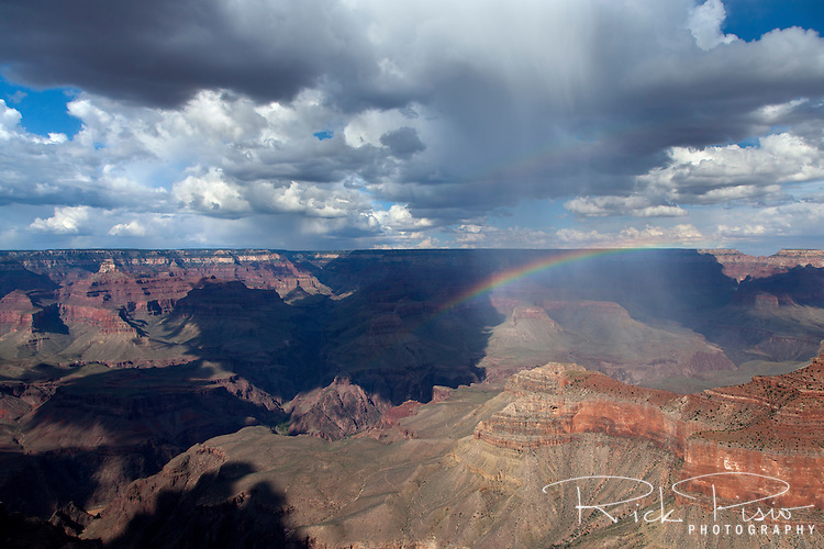 Summer storm creates a rainbow over the Grand Canyon