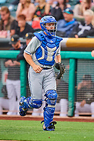 Parker Morin (16) of the Omaha Storm Chasers during the game against the Salt Lake Bees in Pacific Coast League action at Smith's Ballpark on May 8, 2017 in Salt Lake City, Utah. Salt Lake defeated Omaha 5-3. (Stephen Smith/Four Seam Images)