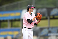 Hickory Crawdads starting pitcher Tim Brennan (15) prepares to throw to a batter during the game with the Charleston Riverdogs at L.P. Frans Stadium on May 12, 2019 in Hickory, North Carolina.  The Riverdogs defeated the Crawdads 13-5. (Tracy Proffitt/Four Seam Images)