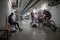 Due to the bad weather outside the planned long training ride was cut 1 hour short & Jasper Stuyven (BEL/Trek-Segafredo), John Degenkolb (DEU/Trek-Segafredo) & Kiel Reijnen (USA/Trek-Segafredo) decided to complete the planned hours of training on the rollers in the hotel basement<br /> <br /> Team Trek-Segafredo winter training camp <br /> <br /> january 2017, Mallorca/Spain