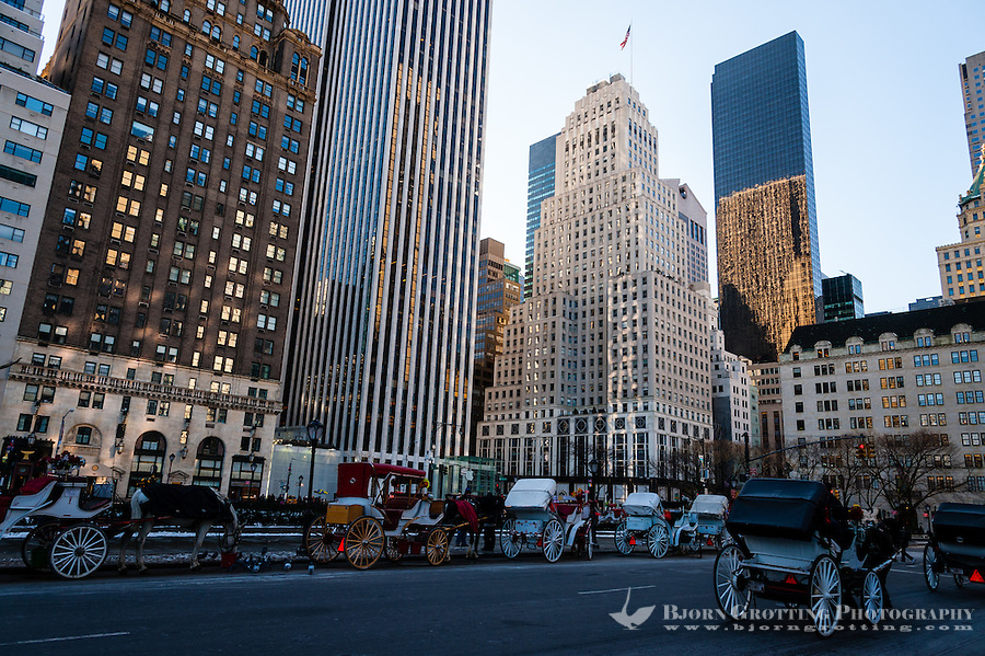 US, New York City, Central Park. Horse cabs waiting outside the park.
