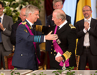 King Albert II of Belgium and his son Prince Philippe, abdication ceremony - Belgium