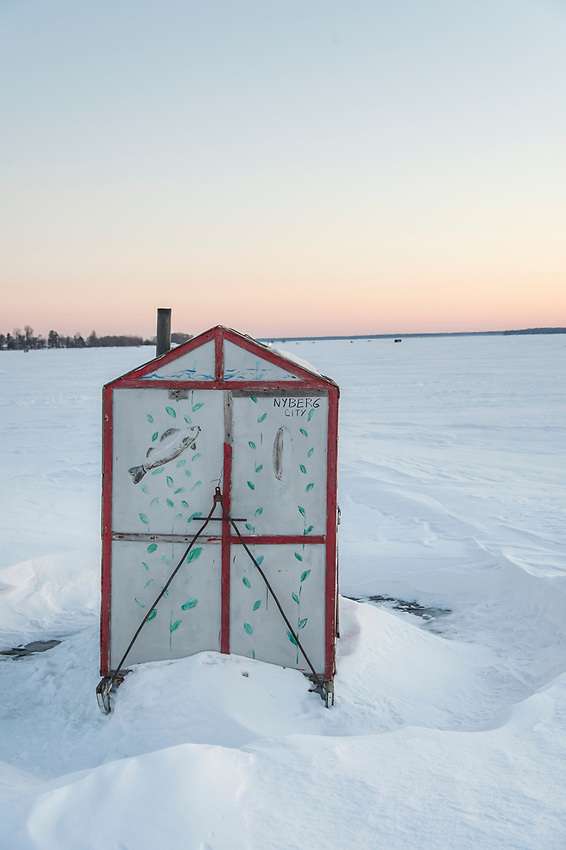 Ice fishing shelters on Lake Michigan at Little Bay de Noc near Gladstone and Escanaba, Michigan.