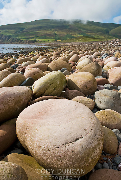 Rocky beach at Rackwick bay on the island of Hoy, Orkney, Scotland