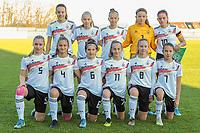 20191204 - TUBEKE , BELGIUM : German team ( (1) Anne Moll , (2) Mara Alber , (3) Hannah Gunther , (4) Lily Reimoller , (5) Jella Veit , (6) Tarah Burmann , (7) Loreen Bender , (8) Mathilde Janzen , (9) Paulina Bartz , (10) Dafina Redzepi , (11) Saphia Kraul ) pictured before the international friendly female soccer game between the Belgian Flames U15 and Germany , Wednesday 4 th December 2019 at the Belgian Football Centre, Tubeke / Tubize , Belgium. PHOTO SPORTPIX.BE | STIJN AUDOOREN