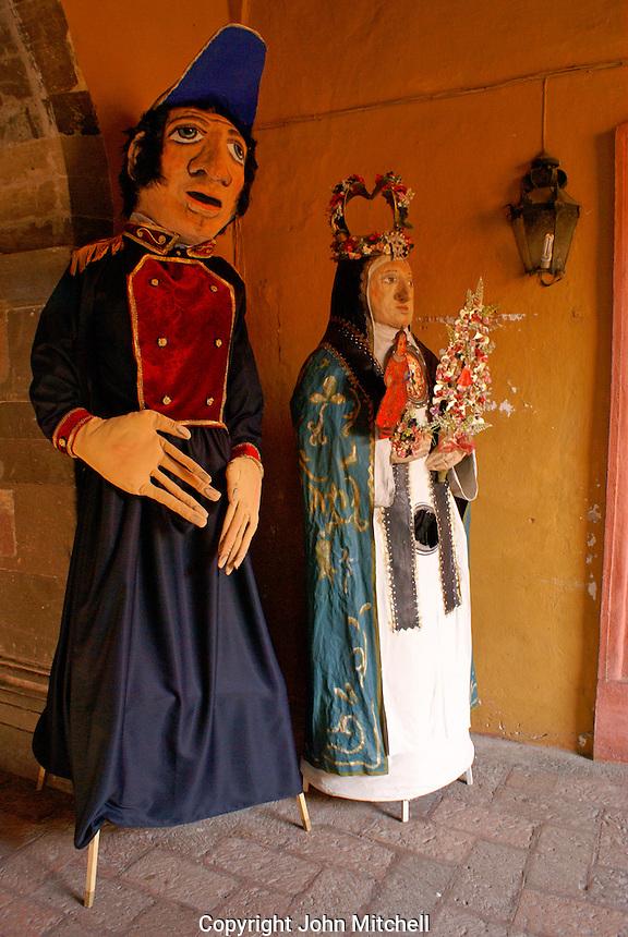 Mojigangas,giant papier mache figures. San Miguel de Allende, Mexico. San Miguel de Allende is a UNESCO World Heritage Site....