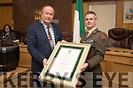 Cllr Jim Finucane presents Commandant Cathal Keohane; 2nd in Command of the 12th Infantry Battalion at Sarsfield Barracks in Limerick with a scroll at a Civic Reception to honour the members of the Defence Forces who have served on UN Peacekeeping Missions