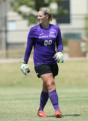 ARLINGTON, TX - AUGUST 25: Jackie Kerestine #0 of the North Texas Mean Green - Houston Baptist vs North Texas Mean Green Soccer at Mean Green Village Soccer Field in Denton on August 25, 2013 in Denton, Texas. Photo by Rick Yeatts