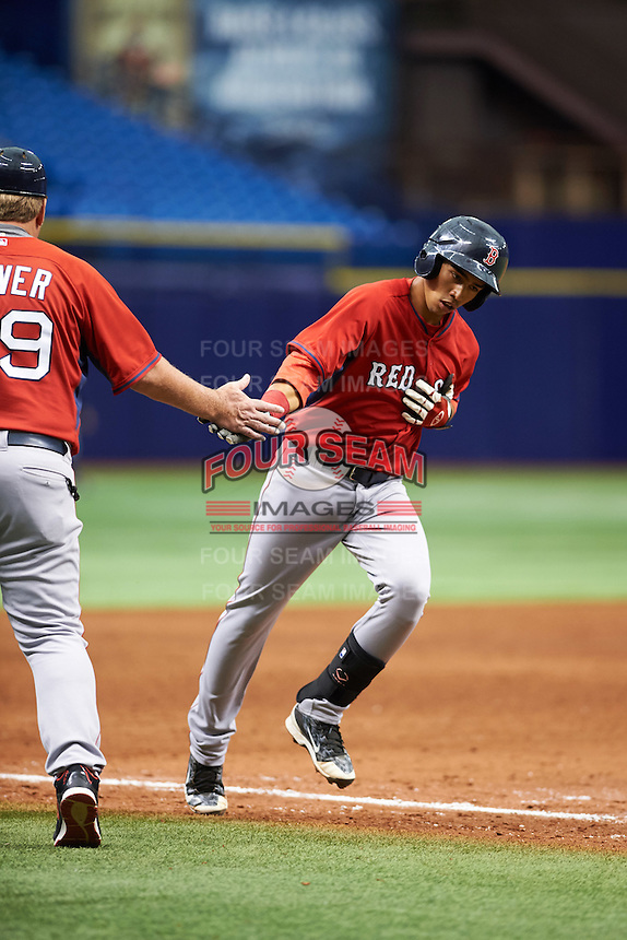 Boston Red Sox Stanley Espinal (15) shakes Joe Oliver's hand after hitting a home run during an instructional league game against the Tampa Bay Rays on September 24, 2015 at Tropicana Field in St Petersburg, Florida.  (Mike Janes/Four Seam Images)