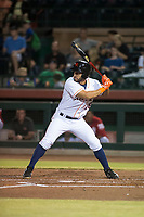 Scottsdale Scorpions designated hitter Abraham Toro-Hernandez (28), of the Houston Astros organization, at bat during an Arizona Fall League game against the Salt River Rafters at Scottsdale Stadium on October 12, 2018 in Scottsdale, Arizona. Scottsdale defeated Salt River 6-2. (Zachary Lucy/Four Seam Images)