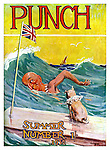 Front cover of Punch Magazine - Summer Number - 1932 ...Mr Punch swimming in the sea with his Toby dog on a board with the Union Jack attached .  Illustration by Frank Reynolds