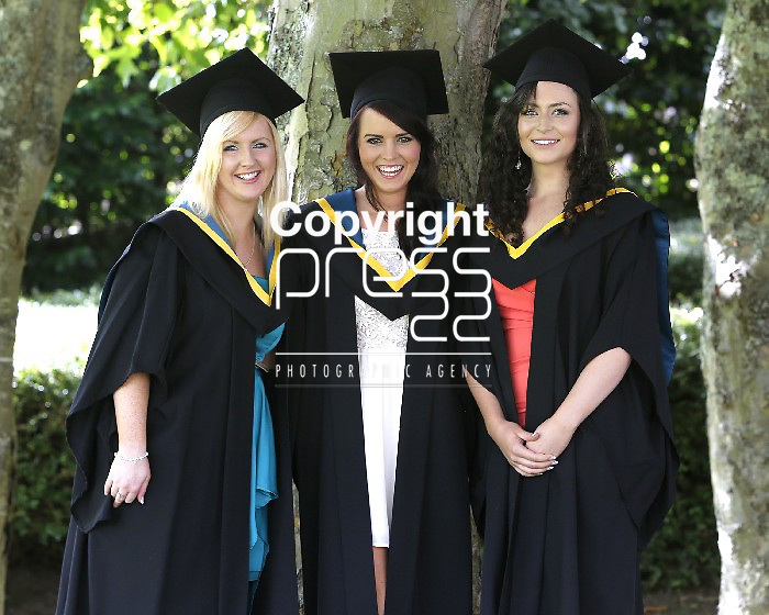 27/08/2013 Elaine Higgins, Caherconlish, Limerick, Claire Whyte, Corofin, Galway and Sarah Condon, Ballylanders, Limerick who all received BEd Languages at the Interfaculty Awards Graduation at the University of Limerick. Picture: Don Moloney / Press 22