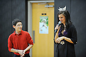 Miss Wisconsin Laura Kaeppeler took questions from the students during her visit to Blessed Sacrament School on Thursday, Oct. 6, 2011, including one from seventh grader Nelson Nunez. Ernie Mastroianni photo.
