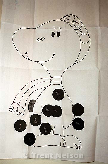 Results of &quot;pin the tail on Snoopy&quot; at Noah's 3rd birthday party.<br />