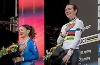 Elena Pirrone (ITA) is the 2017 Junior Women's iTT World Champion with compatriot Alessia Vigilia (ITA) 2nd. Both girls enjoying themselves during (the VERY long version of) the national anthem.<br /> <br /> Women Junior Individual Time Trial<br /> <br /> UCI 2017 Road World Championships - Bergen/Norway