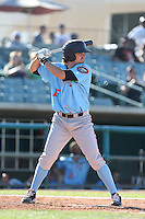 Joe Weik #15 of the Inland Empire 66ers bats against the Lancaster JetHawks at The Hanger on May 26, 2014 in Lancaster, California. Lancaster defeated Inland Empire, 6-5. (Larry Goren/Four Seam Images)