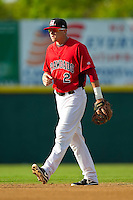 Hickory Crawdads second baseman Ryan Rua (2) on defense against the Kannapolis Intimidators at L.P. Frans Stadium on May 25, 2013 in Hickory, North Carolina.  The Crawdads defeated the Intimidators 14-3.  (Brian Westerholt/Four Seam Images)