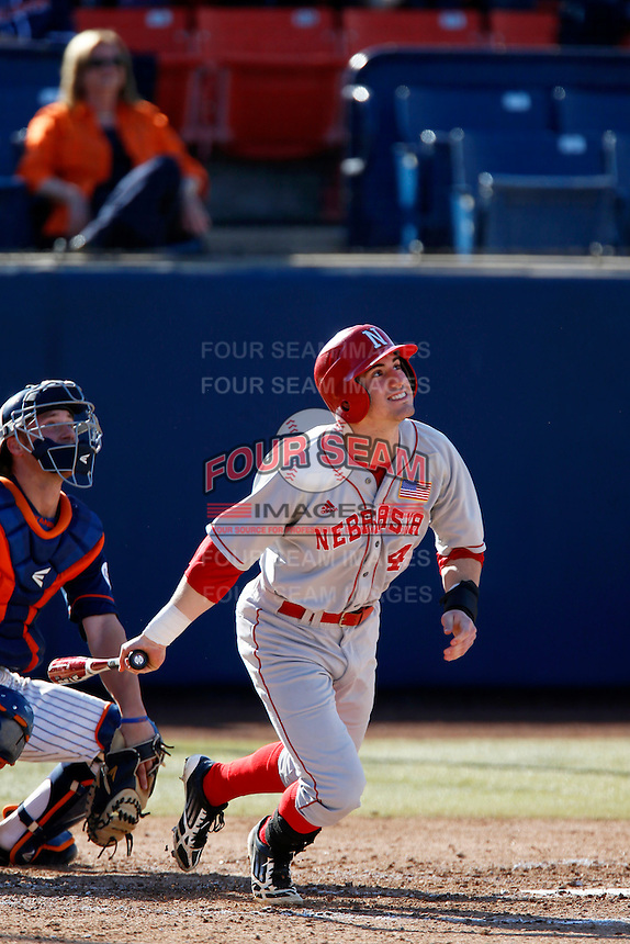 Michael Pritchard #4 of the Nebraska Cornhuskers bats against the Cal State Fullerton Titans at Goodwin Field on February 16, 2013 in Fullerton, California. Cal State Fullerton defeated Nebraska 10-5. (Larry Goren/Four Seam Images)