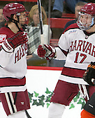 Kyle Criscuolo (Harvard - 11), Sean Malone (Harvard - 17) - The Harvard University Crimson defeated the visiting Princeton University Tigers 5-0 on Harvard's senior night on Saturday, February 28, 2015, at Bright-Landry Hockey Center in Boston, Massachusetts.
