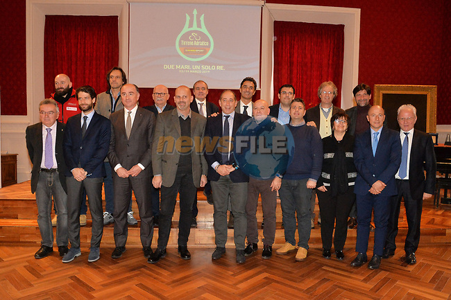 The 54th edition of the Tirreno-Adriatico NamedSport 2019 Race of the Two Seas has been unveiled today. The race, scheduled from 13 to 19 March 2019, is organized by RCS Sport / La Gazzetta dello Sport. 13th December 2018.<br /> Picture: LaPresse/ | Cyclefile<br /> <br /> <br /> All photos usage must carry mandatory copyright credit (© Cyclefile | LaPresse)