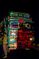 Truck at night, Ladakh, Jammu and Kashmir State, India.