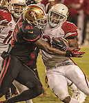 San Francisco 49ers strong safety Antoine Bethea (41) tackles Arizona Cardinals running back David Johnson (31) on Thursday, October 06, 2016 at Levis Stadium in Santa Clara, California. The Cardinals defeated the 49ers 33-21.