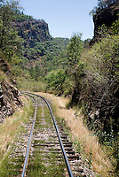 Train tracks through Barranca del Cobre (Copper Canyon), the last passenger train trail in Mexico, Thursday, June 19, 2008. The first departing train leaves Los Mochis at 6AM and will make eight stops along the route which passes over 408 miles of railroad tracks, through 86 tunnels and over 37 bridges on its voyage...PHOTOS/ MATT NAGER