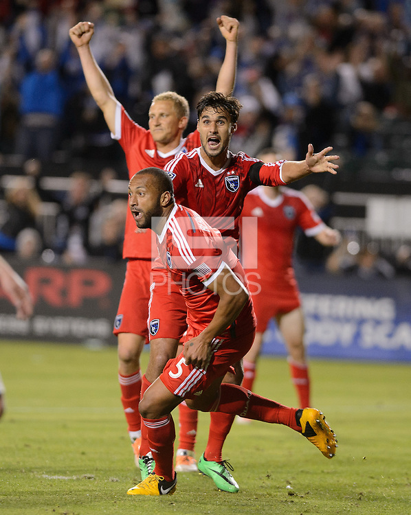 Santa Clara, Ca - Saturday, March 15, 2014: The San Jose Earthquakes tied Real Salt Lake 3-3 in stoppage time at Buck Shaw Stadium. Victor Bernardez celebrates his second goal.