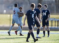 NWA Democrat-Gazette/CHARLIE KAIJO Springdale High School Irvin Sotero (19) reacts after a score during a soccer game, Friday, March 15, 2019 at Bentonville West in Centerton.