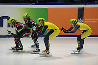 SHORTTRACK: DORDRECHT: Sportboulevard Dordrecht, 24-01-2015, ISU EK Shorttrack, Katrin MANOILOVA (BUL | #108), Raia ZAHARIEVA (BUL | #110), Sofiia VLASOVA (UKR | #156), Olena KORINCHUK (UKR | #154), ©foto Martin de Jong